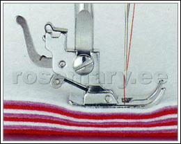 Tänu metallist raamile on masin tugeva pistejõuga, mis võimaldab õmmelda ka pakse ja tugevaid kangaid.